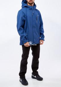 Спортивный костюм мужской осенний весенний из ткани softshell большого размера синего цвета купить оптом в интернет магазине MTFORCE 01921TS