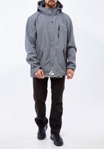 Спортивный костюм мужской осенний весенний из ткани softshell большого размера серого цвета купить оптом в интернет магазине MTFORCE 01921Sr