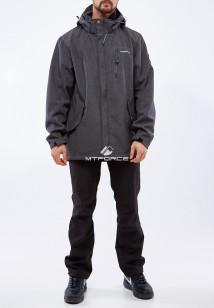 Спортивный костюм мужской осенний весенний из ткани softshell большого размера темно-серого цвета купить оптом в интернет магазине MTFORCE 01921TC