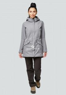 Спортивный костюм женский осенний весенний (windstopper softshell) серого цвета купить оптом в интернет магазине MTFORCE 01922Sr