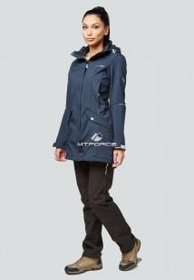Спортивный костюм женский осенний весенний softshell темно-синего цвета купить оптом в интернет магазине MTFORCE 01922TS