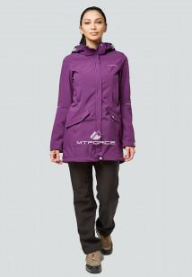 Спортивный костюм женский осенний весенний softshell фиолетового цвета купить оптом в интернет магазине MTFORCE 01922F