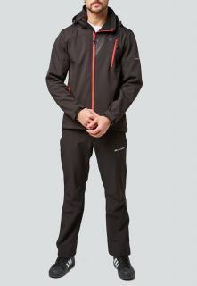 Спортивный костюм мужской осенний весенний softshell черного цвета купить оптом в интернет магазине MTFORCE 01942Ch