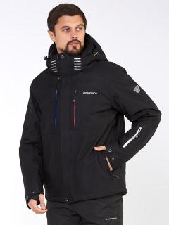 Купить оптом мужскую зимнюю горнолыжную куртку большого размера черного цвета в интернет магазине MTFORCE 19471Ch