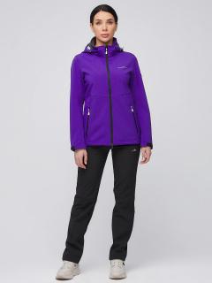 Спортивный костюм женский осенний весенний softshell темно-фиолетового цвета купить оптом в интернет магазине MTFORCE 019077-1TF