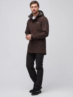 Спортивный костюм мужской осенний весенний softshell коричневого цвета купить оптом в интернет магазине MTFORCE 02010K