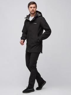 Спортивный костюм мужской осенний весенний softshell черного цвета купить оптом в интернет магазине MTFORCE 02010Ch