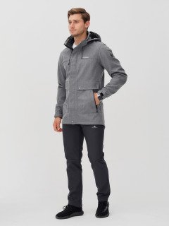 Мужской осенний весенний костюм спортивный softshell серого цвета купить оптом в интернет магазине MTFORCE 02017Sr
