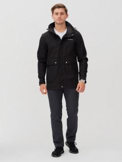 Мужской осенний весенний костюм спортивный softshell черного цвета купить оптом в интернет магазине MTFORCE 02017Ch