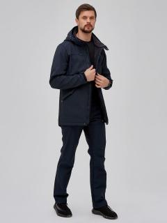Мужской осенний весенний костюм спортивный softshell темно-синего цвета купить оптом в интернет магазине MTFORCE 02018-1TS