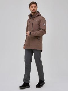 Мужской осенний весенний костюм спортивный softshell коричневого цвета купить оптом в интернет магазине MTFORCE 02018K
