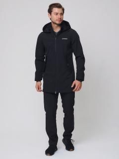 Мужской осенний весенний костюм спортивный softshell черного цвета купить оптом в интернет магазине MTFORCE 02020Ch