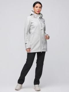 Спортивный костюм женский осенний весенний softshell светло-серого цвета купить оптом в интернет магазине MTFORCE 02021SS