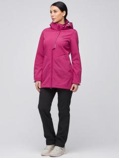 Спортивный костюм женский осенний весенний softshell малинового цвета купить оптом в интернет магазине MTFORCE 02021M