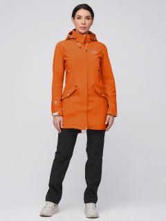 Женский осенний весенний костюм спортивный softshell оранжевого цвета купить оптом в интернет магазине MTFORCE 02026O