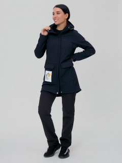 Женский осенний весенний костюм спортивный softshell черного цвета купить оптом в интернет магазине MTFORCE 02027Ch