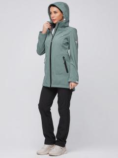 Спортивный костюм женский осенний весенний softshell зеленого цвета купить оптом в интернет магазине MTFORCE 02028Z