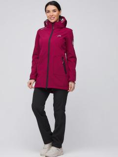 Спортивный костюм женский осенний весенний softshell бордового цвета купить оптом в интернет магазине MTFORCE 02028Bo