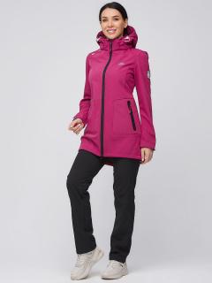 Спортивный костюм женский осенний весенний softshell малинового цвета купить оптом в интернет магазине MTFORCE 02028M