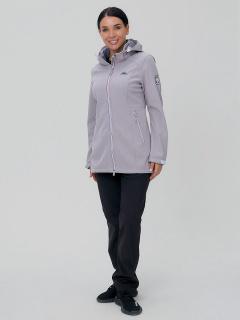 Женский осенний весенний костюм спортивный softshell серого цвета купить оптом в интернет магазине MTFORCE 02029Sr