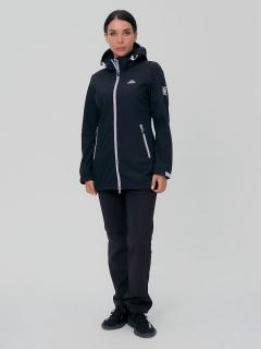 Женский осенний весенний костюм спортивный softshell черного цвета купить оптом в интернет магазине MTFORCE 02029Ch