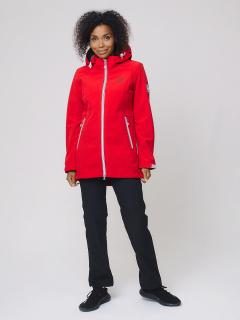 Женский осенний весенний костюм спортивный softshell красного цвета купить оптом в интернет магазине MTFORCE 02029Kr