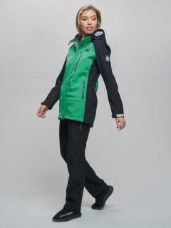 Женский осенний весенний костюм спортивный из ткани softshell виндстоппер зеленого цвета купить оптом в интернет магазине MTFORCE 02030Z