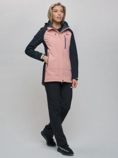 Женский осенний весенний костюм спортивный из ткани softshell виндстоппер розового цвета купить оптом в интернет магазине MTFORCE 02030R