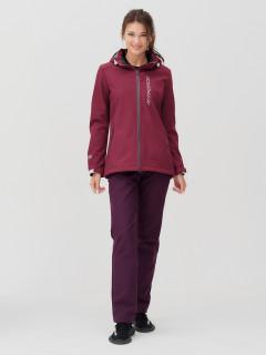 Женский осенний весенний костюм спортивный softshell бордового цвета купить оптом в интернет магазине MTFORCE 02031Bo