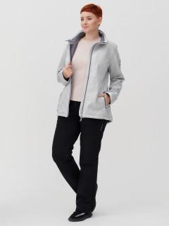 Женский осенний весенний костюм спортивный из ткани softshell большого размера светло-серого цвета купить оптом в интернет магазине MTFORCE 02031-1SS
