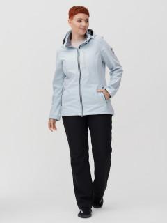 Женский осенний весенний костюм спортивный из ткани softshell большого размера голубого цвета купить оптом в интернет магазине MTFORCE 02031-1Gl