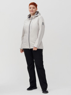 Женский осенний весенний костюм спортивный из ткани softshell большого размера бежевого цвета купить оптом в интернет магазине MTFORCE 02031-1B