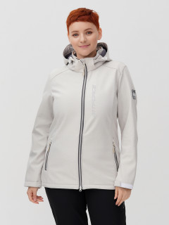 Купить оптом женскую осеннюю весеннюю ветровку из ткани softshell большого размера бежевого цвета в интернет магазине MTFORCE 2031-1B