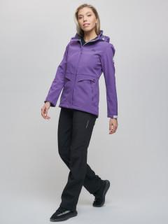 Женский осенний весенний костюм спортивный из ткани softshell виндстоппер фиолетового цвета купить оптом в интернет магазине MTFORCE 02032F