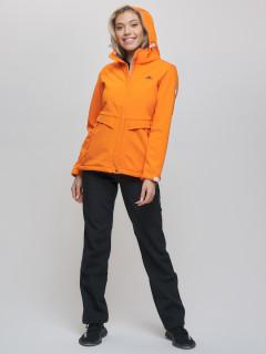 Женский осенний весенний костюм спортивный из ткани softshell виндстоппер оранжевого цвета купить оптом в интернет магазине MTFORCE 0203O