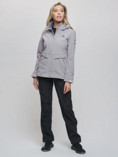 Женский осенний весенний костюм спортивный из ткани softshell виндстоппер серого цвета купить оптом в интернет магазине MTFORCE 0203Sr