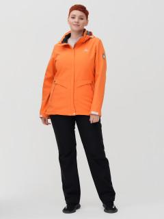 Женский осенний весенний костюм спортивный из ткани softshell большого размера оранжевого цвета купить оптом в интернет магазине MTFORCE 02032-1O
