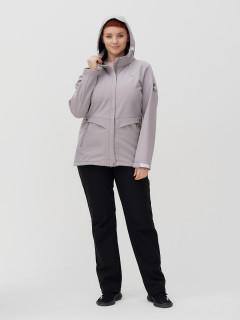 Женский осенний весенний костюм спортивный из ткани softshell большого размера серого цвета купить оптом в интернет магазине MTFORCE 02032-1Sr
