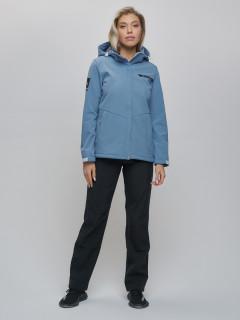 Женский осенний весенний костюм спортивный из ткани softshell виндстоппер голубого цвета купить оптом в интернет магазине MTFORCE 02034Gl