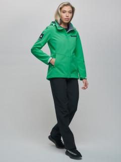 Женский осенний весенний костюм спортивный из ткани softshell виндстоппер зеленого цвета купить оптом в интернет магазине MTFORCE 02034Z