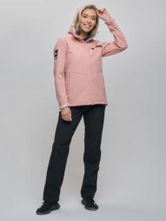 Женский осенний весенний костюм спортивный из ткани softshell виндстоппер розового цвета купить оптом в интернет магазине MTFORCE 02034R