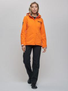 Женский осенний весенний костюм спортивный из ткани softshell виндстоппер оранжевого цвета купить оптом в интернет магазине MTFORCE 02034O