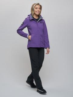 Женский осенний весенний костюм спортивный из ткани softshell виндстоппер фиолетового цвета купить оптом в интернет магазине MTFORCE 02034F