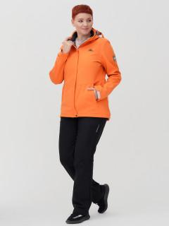 Женский осенний весенний костюм спортивный из ткани softshell большого размера оранжевого цвета купить оптом в интернет магазине MTFORCE 02034-1O