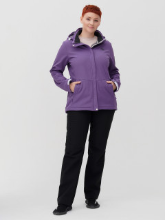 Женский осенний весенний костюм спортивный из ткани softshell большого размера фиолетового цвета купить оптом в интернет магазине MTFORCE 02034-1F
