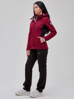 Женский осенний весенний костюм спортивный softshell бордового цвета купить оптом в интернет магазине MTFORCE 02036Bo