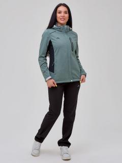 Женский осенний весенний костюм спортивный softshell бирюзового цвета купить оптом в интернет магазине MTFORCE 02036Br
