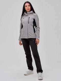 Женский осенний весенний костюм спортивный softshell серого цвета купить оптом в интернет магазине MTFORCE 02036Sr