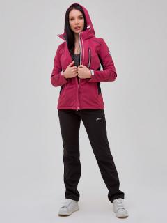Женский осенний весенний костюм спортивный softshell малинового цвета купить оптом в интернет магазине MTFORCE 02036M