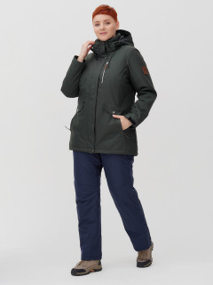 Женский зимний костюм горнолыжный большого размера болотного цвета купить оптом в интернет магазине MTFORCE 02047Bt